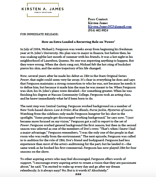 Michael J. Ferguson Press Release